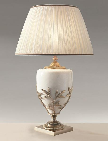 "Ivory porcelain table lamp with ""lost wax"" castings and chiffon shade in 4 colors"