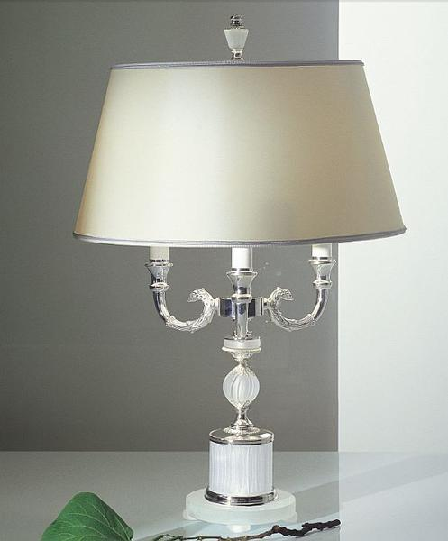 Classic palladium table lamp with frosted crystal glass base