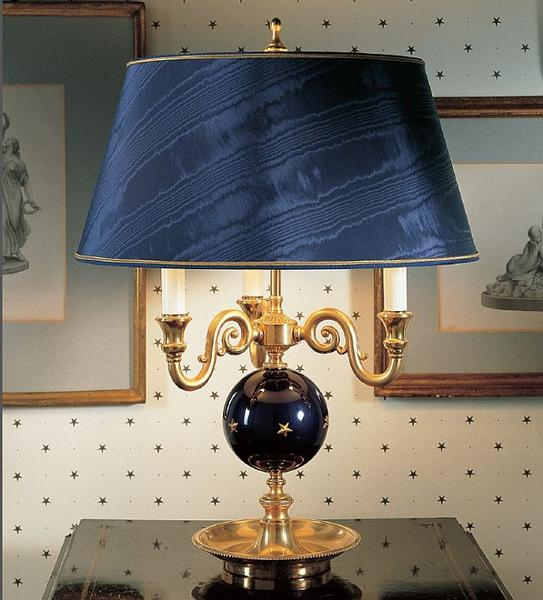 Gold plated table lamp with enamelled globe in 7 colours