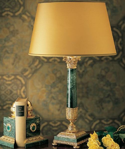 Classic green, white, red, or black marble table lamp with 24 carat gold plated finish