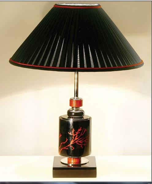 Black art deco style marble table light with shell and coral mosaic