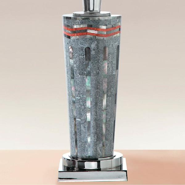 High end art deco style table lamp with grey and coral mosaic and white calfskin shade