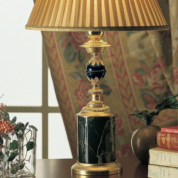 Refined 24 carat gold-plated table lamp with choice of marble and shade colour