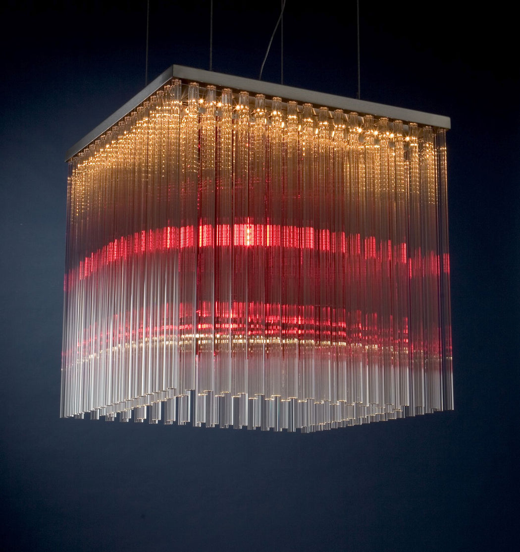 Large modern pendant light with glass rods in custom colors