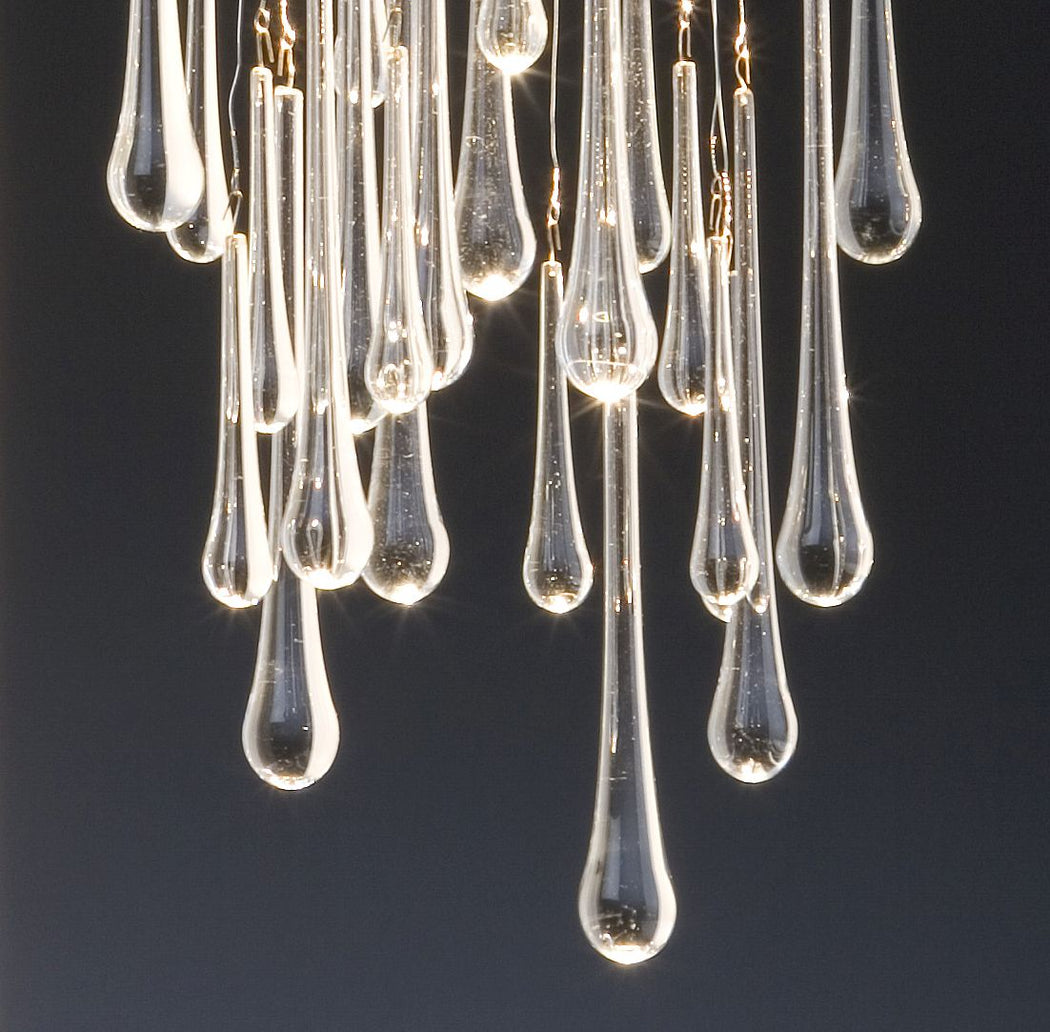 Elegant modern steel wall light with beautiful teardrop glass pendants