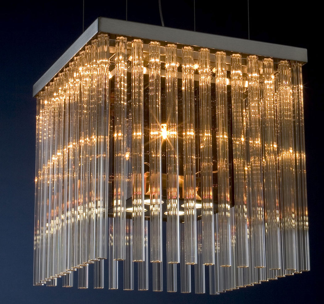 50 cm modern pendant light with glass rods in custom colors