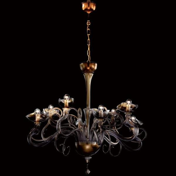 Beautiful clear and violet Murano glass chandelier with gold leaf accents