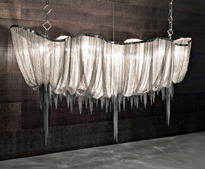 Magnificent 2.5 metre Atlantis suspended light from Terzani with nickel chains