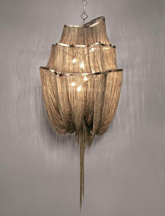 The large 'Atlantis' 3 tier modern chandelier in nickel, gold, or black nickel from Terzani