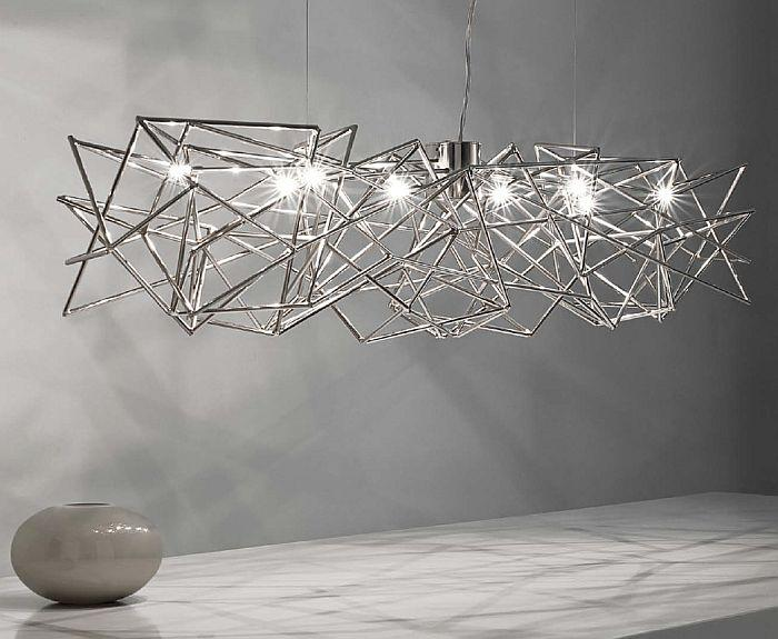 Modern abstract 130 cm wide silver nickel  dining room chandelier