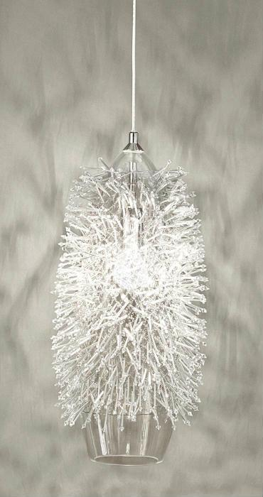 """Sea Urchin nickel metal hanging light from Terzani with Swarovski crystals"