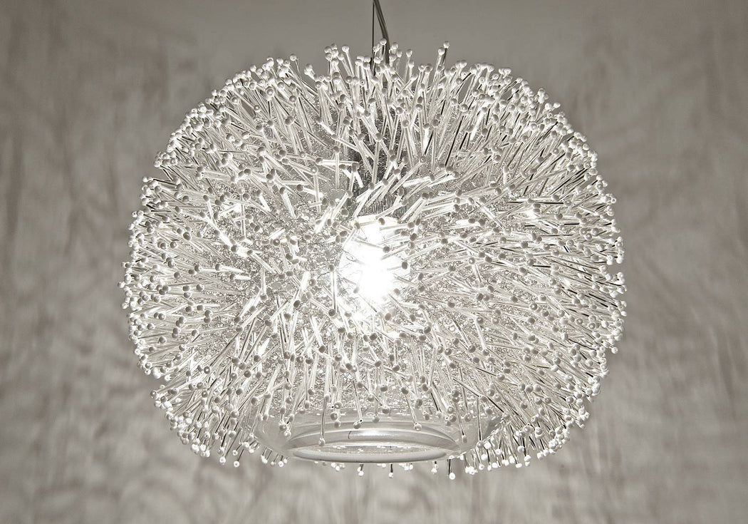 """Sea Urchin nickel spherical pendant light from Terzani with Swarovski crystals"