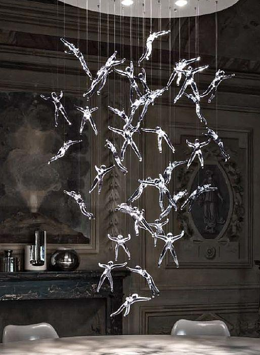 "Modern ""Angel Falls"" chandelier by Terzani with 36 lead crystal angels"