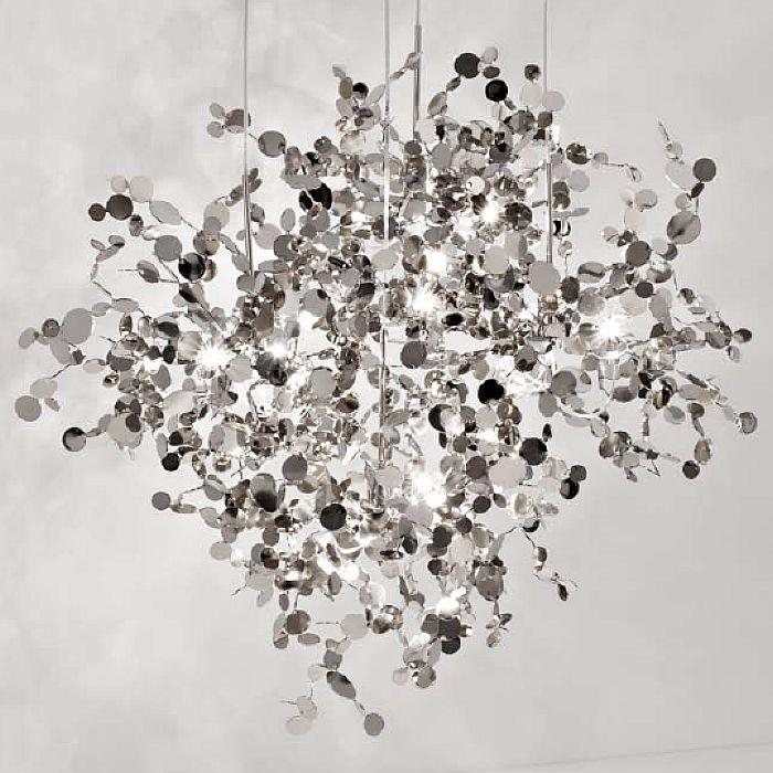 Argent 76 cm metal pendant light by Terzani with reflective silver discs