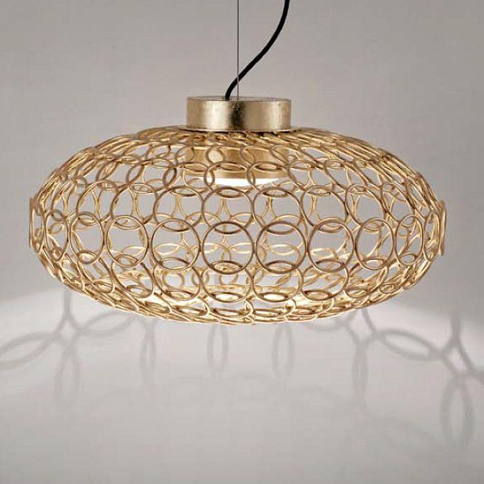 G.R.A. oval gold or silver nickel ceiling pendant by Terzani with metal rings
