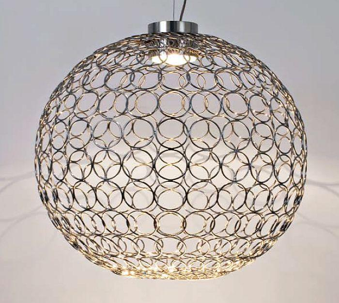Impressive large 70 cm modern gold or nickel G.R.A ceiling globe pendant from Terzani