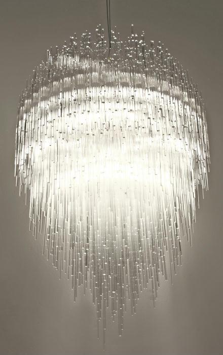 "Spectacular ""Iceberg""  suspended ceiling light by Terzani with sparkling plexiglass tubes"