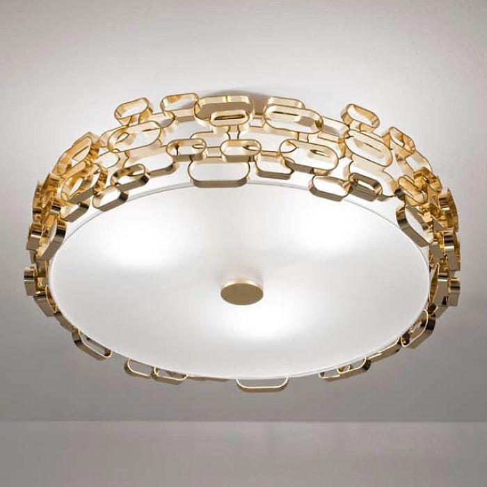 """Glamour"" gold, nickel, or white flush ceiling light by Terzani with geometric design"