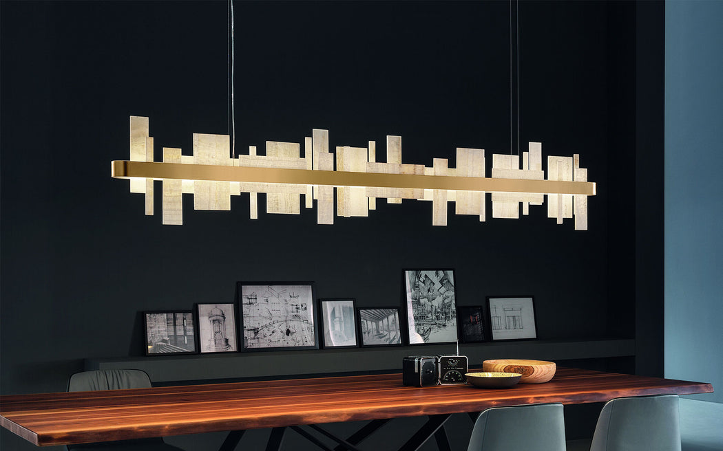 Fabulous Italian dining table chandelier with beautiful onyx strips and gold frame