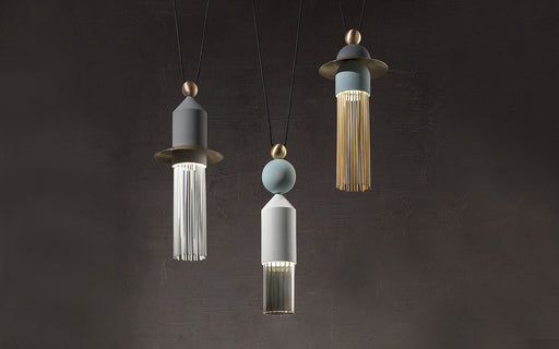 Modern three-light tassel-style pendant light from Italy in 4 colors
