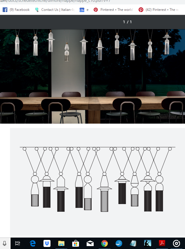 Modern 10 light composition from Italy in 4 neutral metal colors