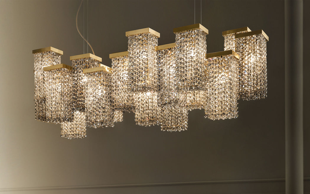 Large modern chandelier with smoky crystal or Swarovski Elements