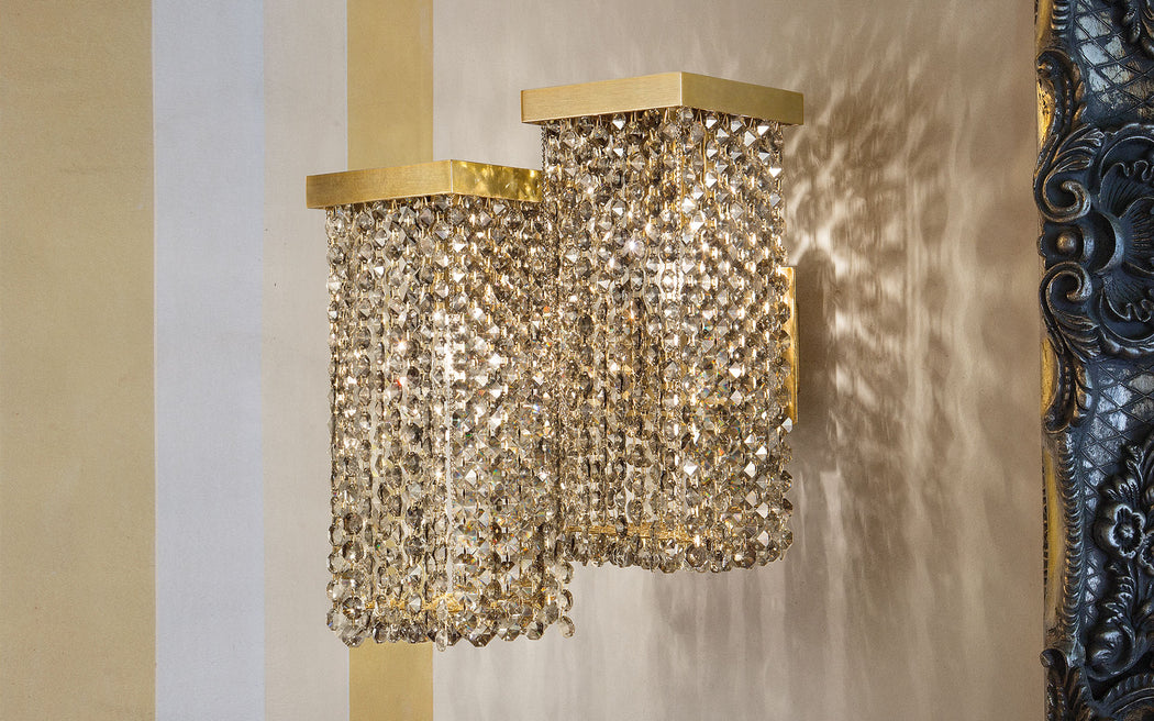 Modern smoked cut crystal wall sconce with 2 lights and Swarovski option
