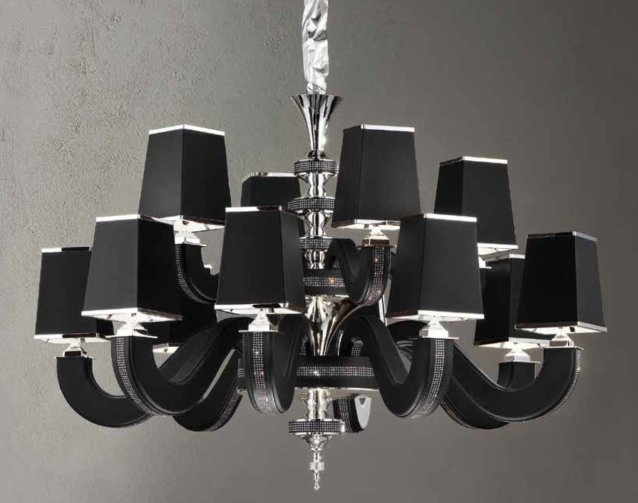 Modern 12 light Italian chandelier with black, red, white, or tobacco  faux leather shades