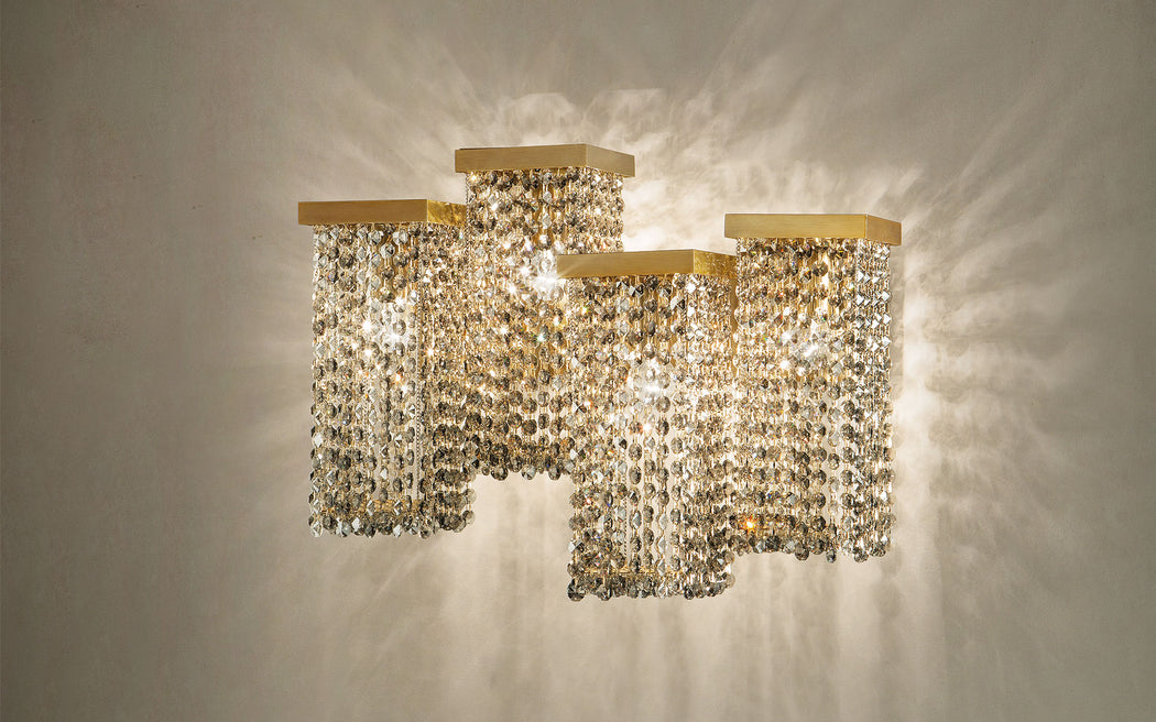 Modern smoked cut crystal wall sconce with 4 lights and Swarovski option