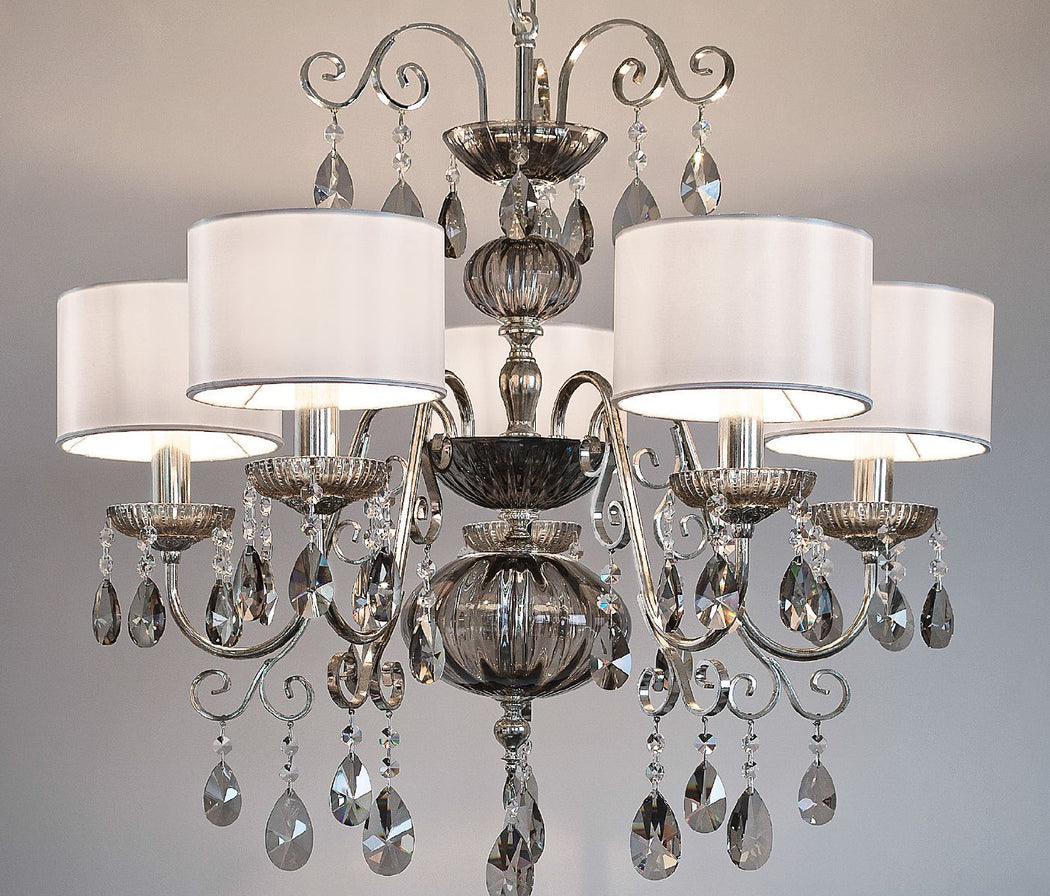 Elegant 5 light Italian chandelier with smoke or amber hand-blown glass decoration