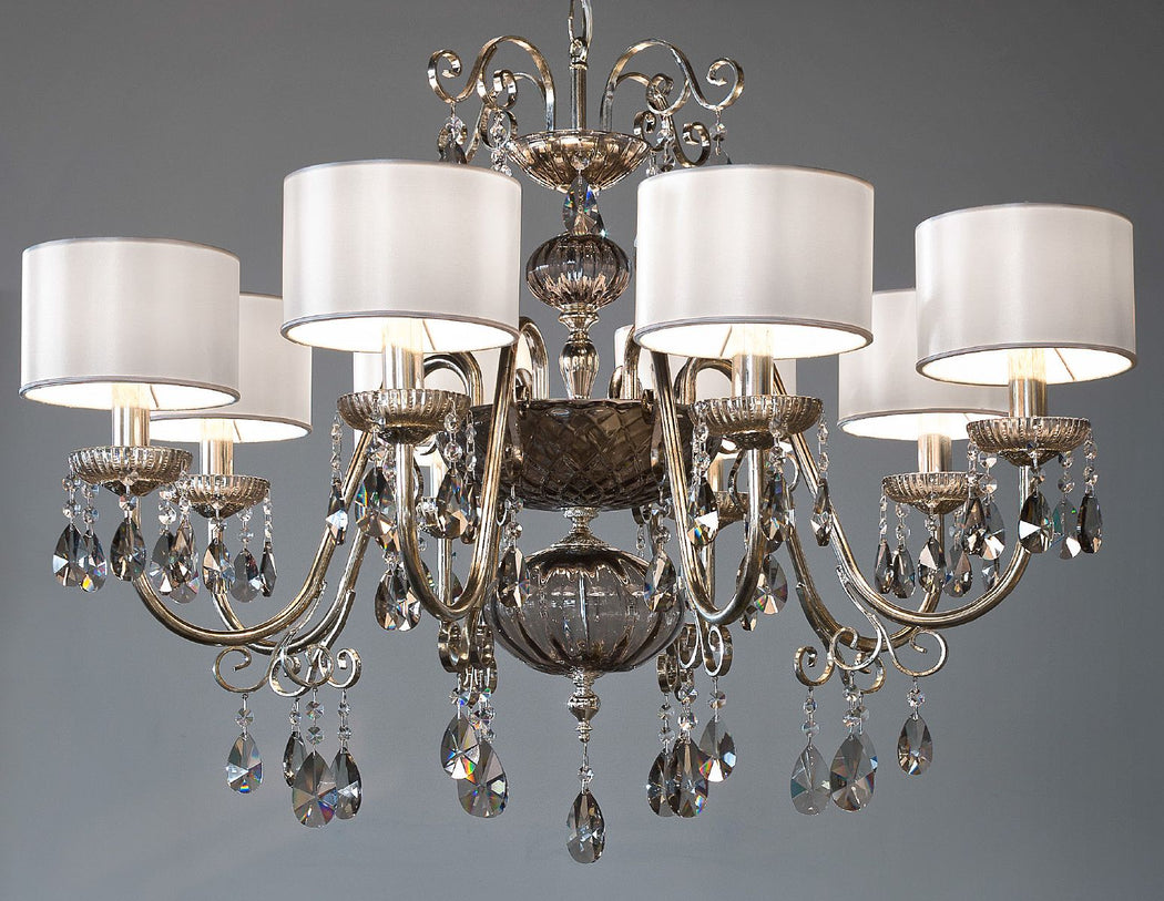 Ornate silver or gold Italian chandelier with hand-blown glass decoration and 8 shades