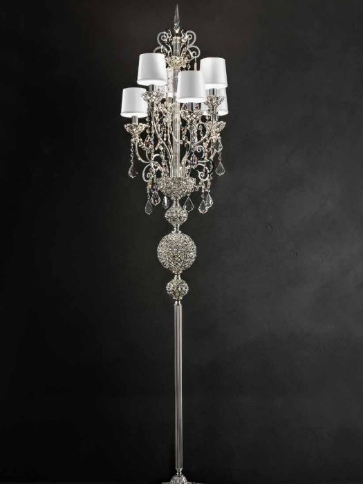 Ornate traditional silver-plated or gold-plated Italian floor light with  Swarovski crystals