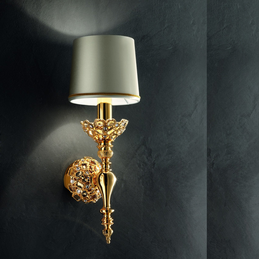 Traditional Italian gold-plated wall light with clear embedded crystals
