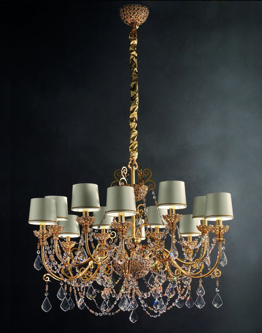 A lovely classic 12-light crystal-encrusted Italian chandelier with Swarovski pendants