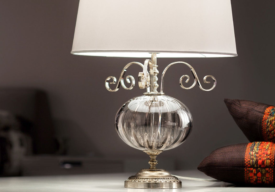 Elegant silver or gold Italian table lamp with smoke or amber glass decoration
