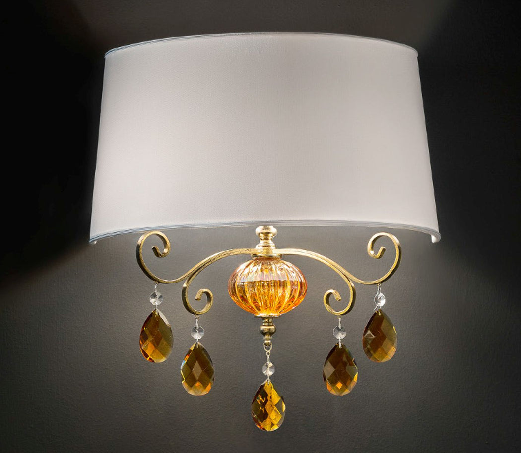 Elegant Italian wall light with amber or smoked hand-blown glass decorations