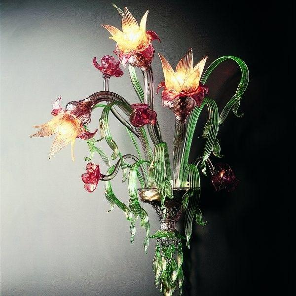 Murano glass wall light with amethyst & ruby flowers, and green & gold accents
