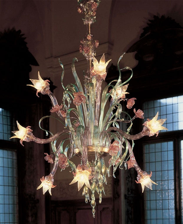 Amethyst, green, gold and ruby Venetian glass flower chandelier with 9 lights