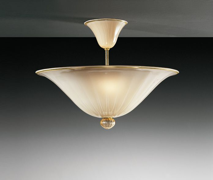 Sophisticated and classic ceiling light in ivory Murano glass
