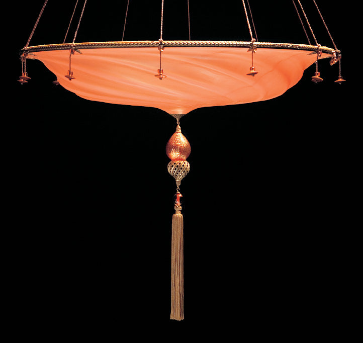 Murano glass Fortuny style pendant light in seven colours