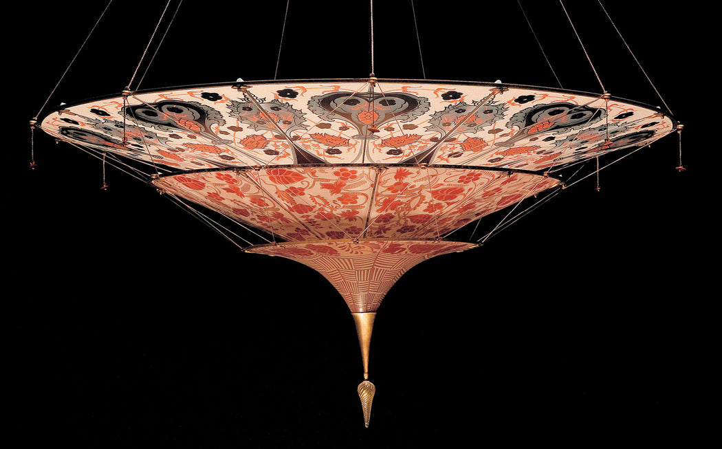 3 tier Fortuny style chandelier in Murano glass