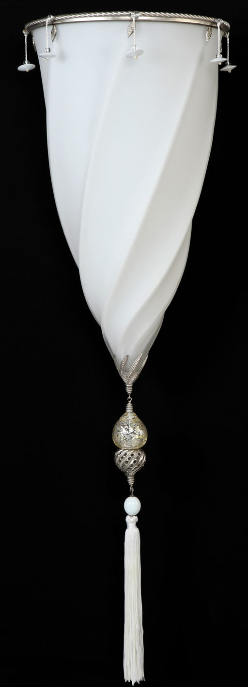 White Murano glass Fortuny style wall light with silk tassels