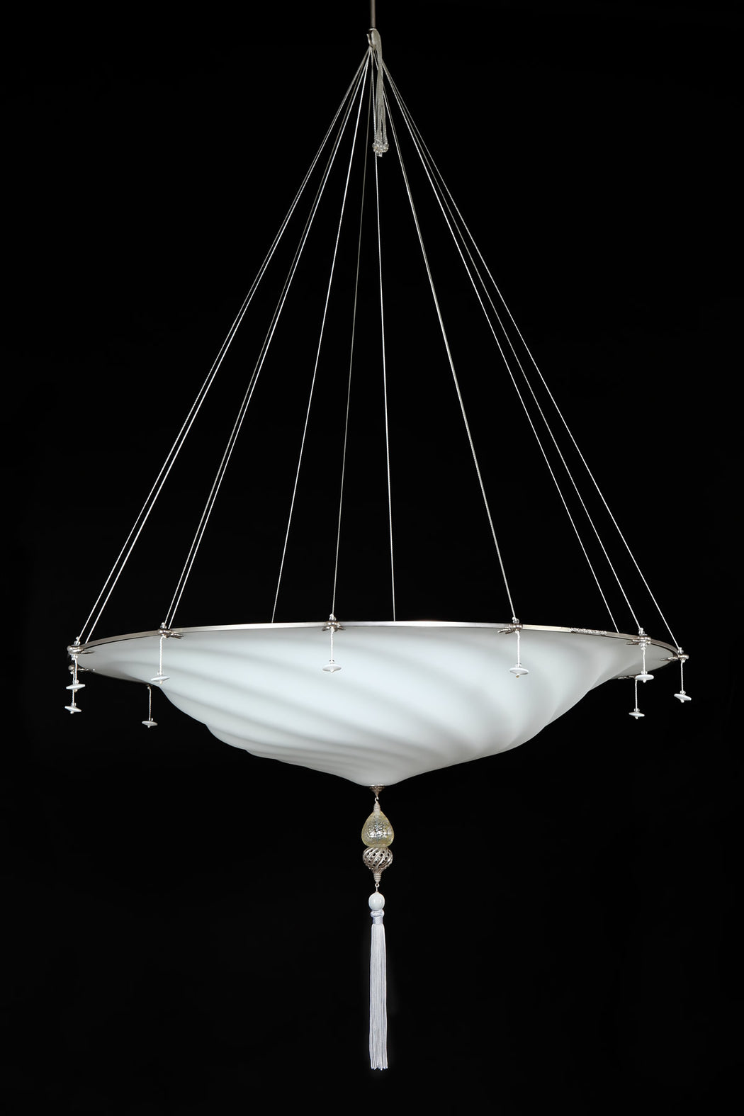 White Murano glass Fortuny style pendant light with silk tassels