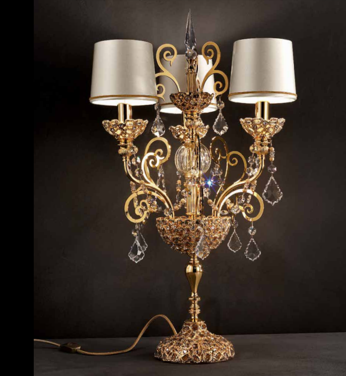Ornate classic silver or gold-plated Italian table lamp with Swarovski pendants