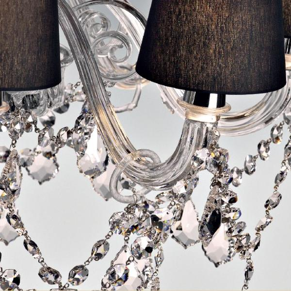 Clear, red or black Murano glass chandelier with shades and crystal pendants