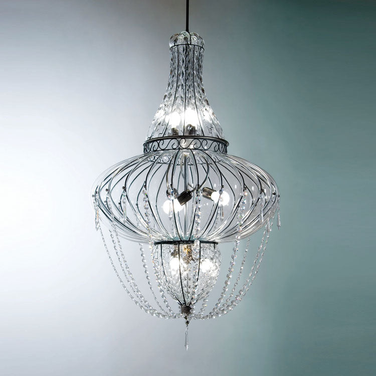Glamorous large modern chandelier in clear Murano glass