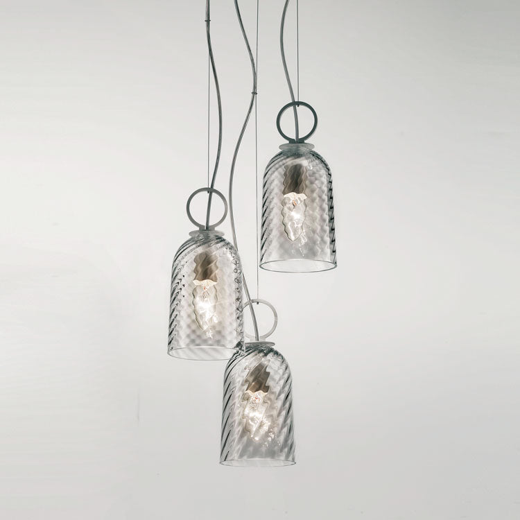 Modern triple cluster pendant light in clear or amber Venetian glass