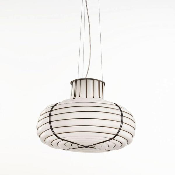 Modern Venetian cage-style pendant light with white Murano glass diffuser