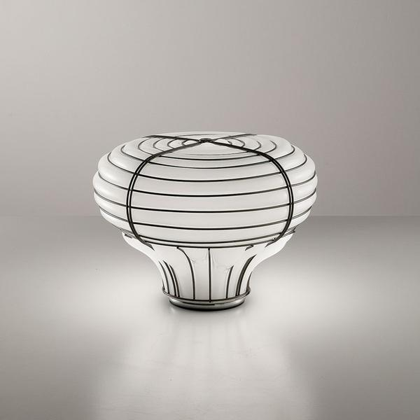 Modern Venetian cage-style table lamp with white Murano glass diffuser