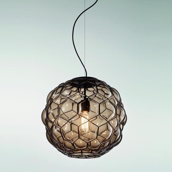 "Stunning grey or amber Murano glass pendant light, 15"" in diameter"